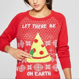 Sweaters - Let There Be Pizza On Earth Sequin Christmas S M